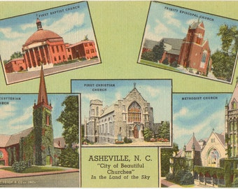 Linen Postcard, Asheville, North Carolina, Featuring Beautiful Churches