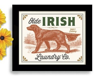 Irish Setter Laundry Room Decor Ireland Print Dog Art Laundry Sign Wall Art Print Laundry Room Art English Setter Powder Room Bathroom Art