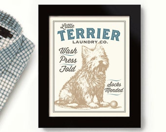 Terrier Dog Art Laundry Room Decor West Highland Westie Dog Wash Norwich Terrier Laundry Sign Wall Art Print Washing Machine Cairn Terrier