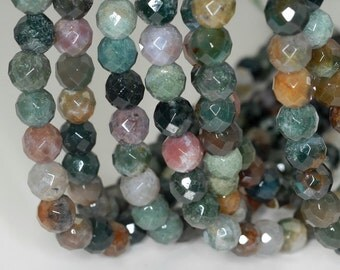 10mm Indian Agate Gemstone Green Red Faceted Round 10mm Loose Beads 15 inch Full Strand (90189153-B59)
