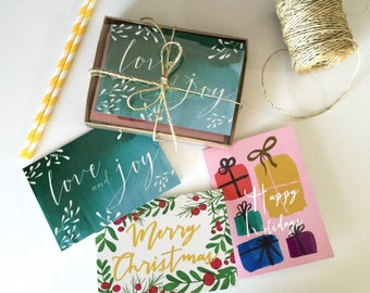 Holiday cards set of 9 with white envelope