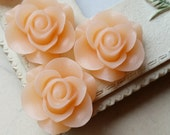 SPECIAL OFFER 21 mm Peach Color Rose Resin Flower Cabochons (.am)