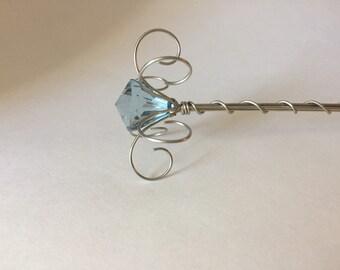 Fairy Princess Wand with a Blue Centred Jewel -Blue Fairy Wand