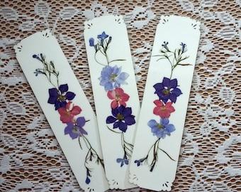PRESSED FLOWER BOOKMARKS - Set of 3 Bookmarks, Pressed, Dried Natural Garden Flowers, Pink Lavender Purple, Teacher Gift, Book Lover Gift