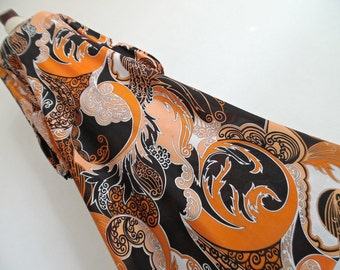 PSYCHEDELIC FANTASY . L Bright Graphics Surreal Print Maxi Dress 70s Orange Black