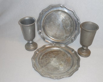 Pewter Plates with Goblets, International Silver Co., Rustic
