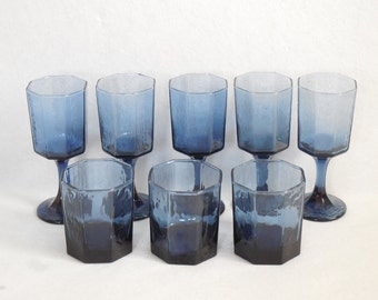 Facets-Cobalt by Libbey - Rock Sharpe Cobalt Blue, Textured Multi-Sided, Circa: 1982, Goblets and Old Fashion Glasses
