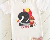 Fireman Birthday Shirt- Fire Hose- Dalmatian dog- Custom embroidery- Fire engine