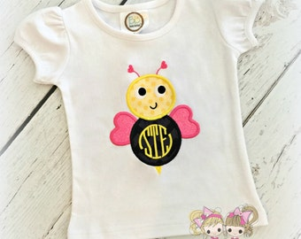 Monogrammed Bumblebee Shirt- Custom Embroidery- Valentine's Day Bee- Bee Mine