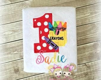 Crayon birthday shirt - 1st birthday shirt - art themed birthday shirt for girls - color crayon themed shirt - personalized birthday shirt