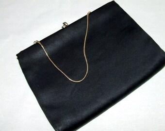 1960's HL HARRY LEVINE Black Kiss-Lock Evening Clutch Handbag