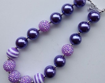 chunky bead necklace baby necklace purple lavender bubble gum chunky baby necklace big girl necklace big bead necklace