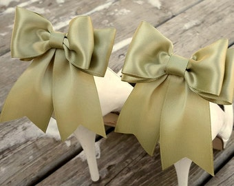 Satin Bow Shoe Clips,Wedding Shoe Clips, Bridal Shoe Clips, Shoe CLips, Spring Moss, Shoe Clips for Wedding Shoes, Bridal Shoes, MANY COLORS