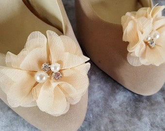 Shoe Clips, Champagne Flower Shoe Clips, Bridal Shoe Clips, Wedding Shoe Clips, Clips for Wedding Shoes, Bridal Shoes, Shoe Clips Only
