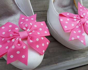 Hot Pink Polka Dot Shoe Clips, Bows, Bridal Shoe Clips, Grosgrain Bow Shoe Clips,  Shoe Clips, Hot Pink Bows, Shoe Clips for Wedding Shoes,
