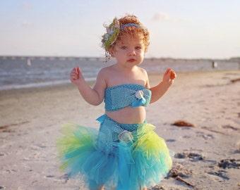 Mermaid Costume - Mermaid Tail - Baby Photo Prop - Baby Mermaid Costume - Halloween Costume - Mermaid Crown - Mermaid Birthday - Tutu Dress