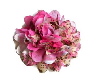 Pink Floral Chiffon Flower. 1 Flower