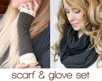 Infinity Scarf Gloves Set, Gift for Her, Grey Gray Scarf, Long Lace Fingerless Arm Warmers, Gift Sets Mom Women, Girlfriend Womens Gift Wife