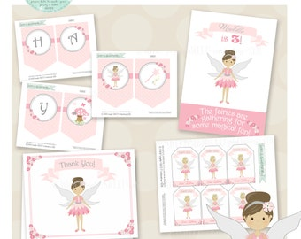 Sage Pixie Dust Birthday Party Package- Printable PDF files. Pink and Silver fairy. additional colors available