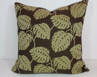 Caribe Decorative Pillow Cover, Robert Allen@Home Cushion Cover, Brown, Green, Olive Green Leaves, 20 x 20
