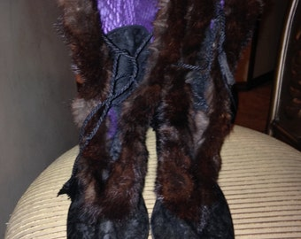 Amazing Edwardian Mink-Trimmed Snow Boots