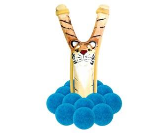 Wooden Tiger Slingshot with 12 Blue Felt Ball Ammo - hunting slingshot, wooden slingshot, best slingshot, toy slingshot, wooden toy, camping