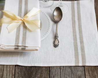 Set of 4 linen Placemats Tissa Striped White