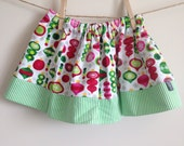 2T Christmas Twirl Skirt : Bright Pink and Green Ornaments