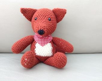 Crochet Fox with Check Bandana