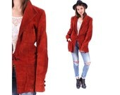 RED SUEDE Jacket 70s Faded Burnt Red Real Leather Blazer Women Men Outerwear 1970s Short Coat Hipster Distressed Jacket Medium to Large