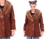 70s Vintage Brown Sheepskin Shearling Winter Coat 1970s Suede Real Lamb Fur Beige Lining CURLY PERSIAN LAMB Fur Collar Long Jacket Medium