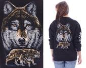 Wolf Sweatshirt 90s Vintage Black Animal Print Jumper Unisex Black Grey Brown Long Sleeves Hipster Grunge 1990s Cotton . Large to XL