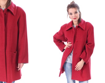 Red Wool PEA COAT 80s Vintage Women Insulated Boho Jacket Pea Mac Short Coat Pockets Long Line Jacket Raglan Sleeves Medium to Large