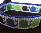 Whales Nautical Preppy  Adjustable Dog Collar Summer Strips Blue and Green