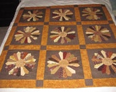 Brown Dresden lap quilt or wall hanging