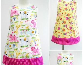 Girls Dress, Girls Reversible A line Pinafore, Pinny Jumper, Play Dress, Girls Clothing, Kids Clothes Ladybirds Elephants Giraffe Zebra