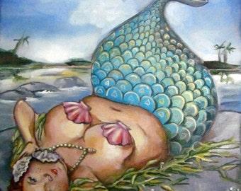"""Woohoo Weekend Sale BBW mermaid giclee print on watercolor paper 8""""x10"""" Edith Mermaid"""