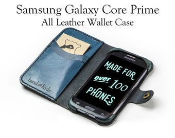 Galaxy Core Prime Leather Wallet Case - No Plastic - Free Inscription
