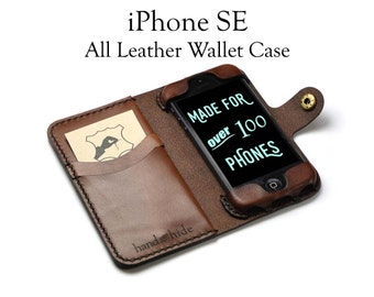 Handmade iPhone SE Leather Wallet Case, hand stitched