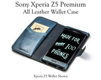 Xperia Z5 Premium Leather Wallet Case - No Plastic- Free Inscription