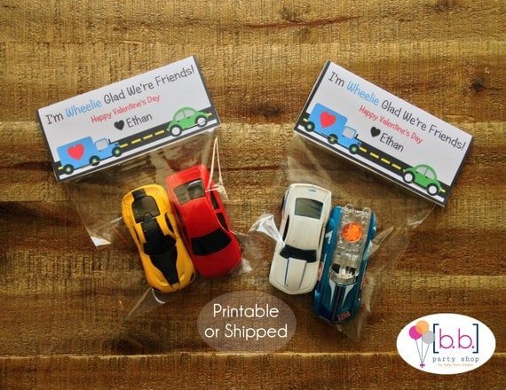 Valentine's Day Card- Cars- Treat Bag Topper- Printable or Shipped