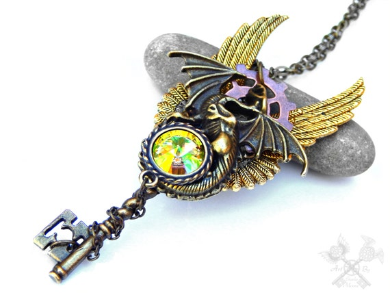 Steampunk Dragon Key / Key to my Heart Necklace / Skeleton Key