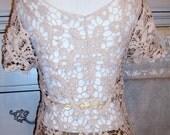 Vintage, Crochet Ecru Top and Skirt,BOHO,Festival,Crochet Blouse,