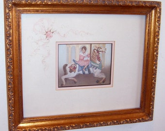 Vintage, Wall piture, Victorian, Carousel horse, Gold Ornate Frame,