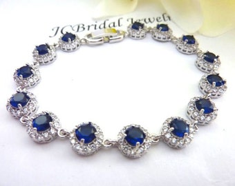Bridal Bracelet - High Quality Halo Sapphire Blue Round Cubic Zirconias White Gold Plated Bracelet