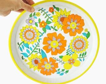 vintage  tray - floral decor - hippie