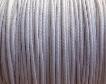 10 Yards - 1mm White Waxed Cotton Cord