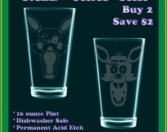 SHIPPER SALE! Foxy X Mangle - Five Nights at Freddy's - etched pint glasses
