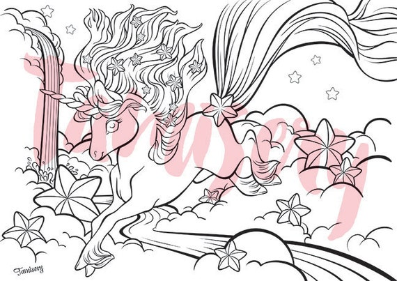 Stary Night Unicorn  8.5x11 printable coloring page. Adult coloring pages
