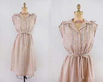 Vintage 1970s Phoebe Dress / 70s striped cotton day dress / medium M